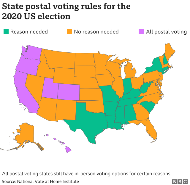 state postal voting rules for the 2020 election map